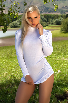 Cute Victoria Angel Strips Outdoors